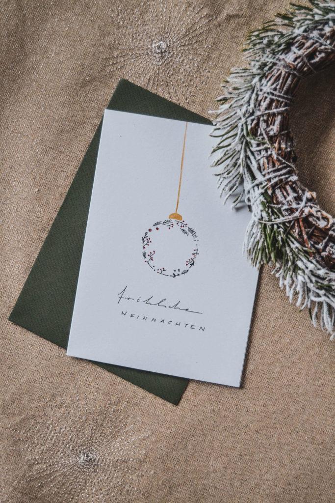 Grußkarte Christbaumkugel Weihnachtskranz