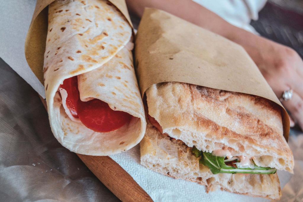 Italienisches Street Food Piadina und Focaccia